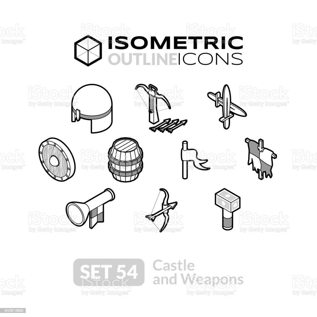Isometric outline icons set 54 vector art illustration