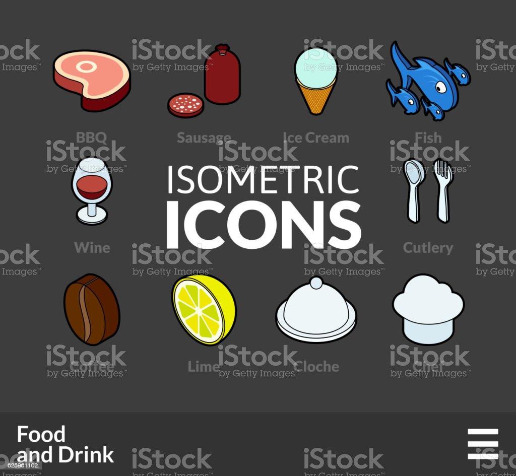 Isometric outline icons set 56 vector art illustration