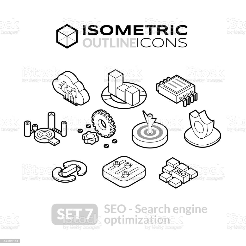 Isometric outline icons set 7 vector art illustration