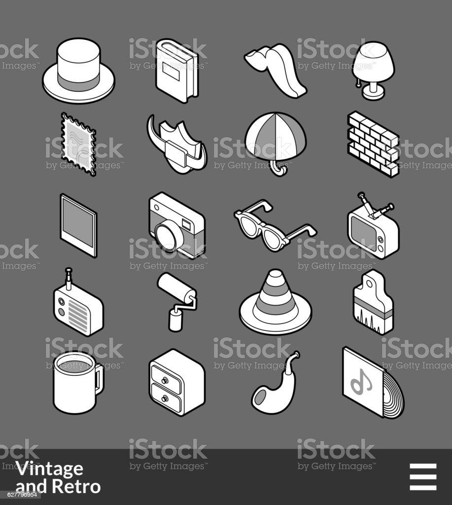 Isometric outline icons set vector art illustration