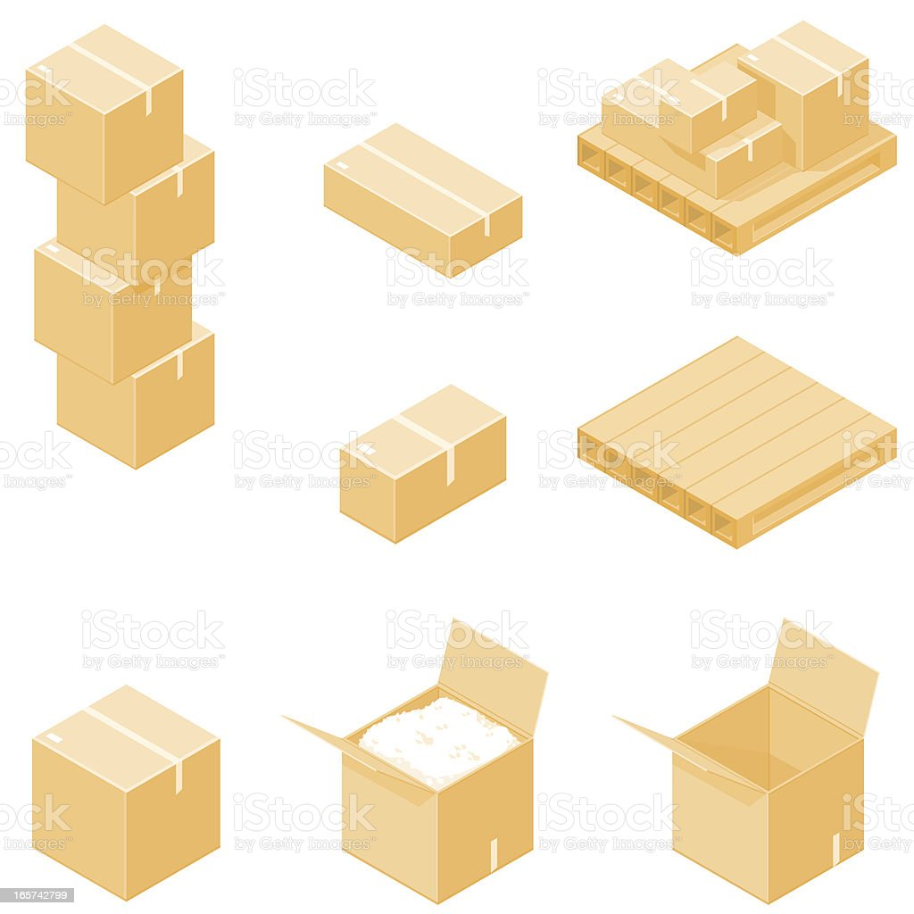 Isometric Packing Boxes with Pallet. royalty-free stock vector art