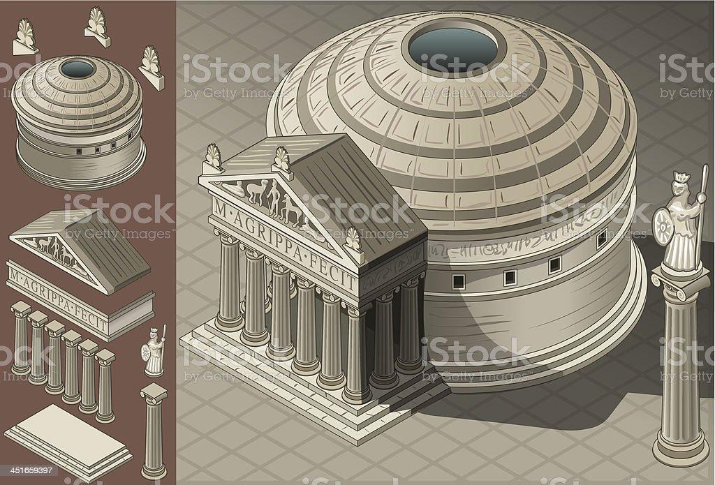 Isometric Pantheon Temple in Roman Architecture vector art illustration