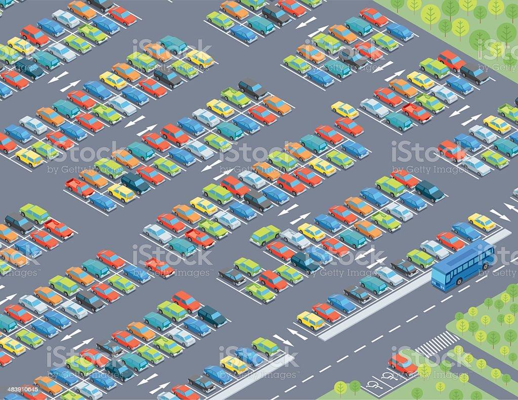 Isometric, Parking Lot vector art illustration