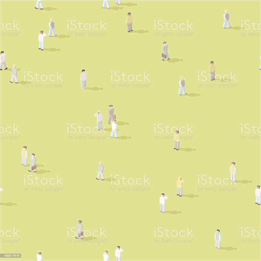 Isometric people crowd, seamless vector art illustration