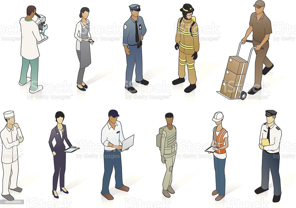Isometric People In Uniform vector art illustration