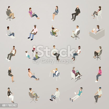 Isometric People Sitting