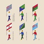 Isometric people with flags: Vanuatu, Fiji, Polynesia, Solomon I