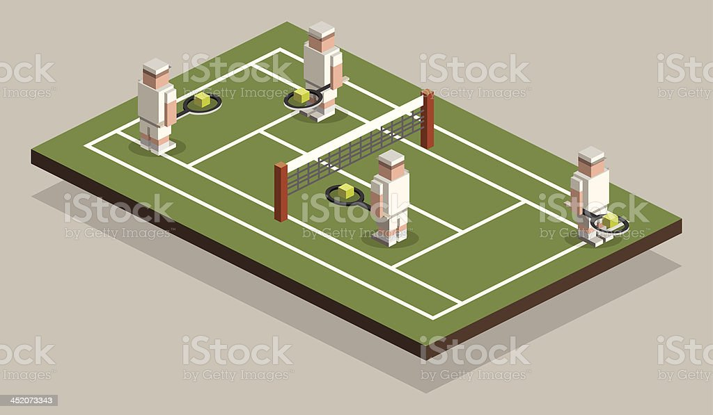 Isometric People_Tennis Players royalty-free stock vector art