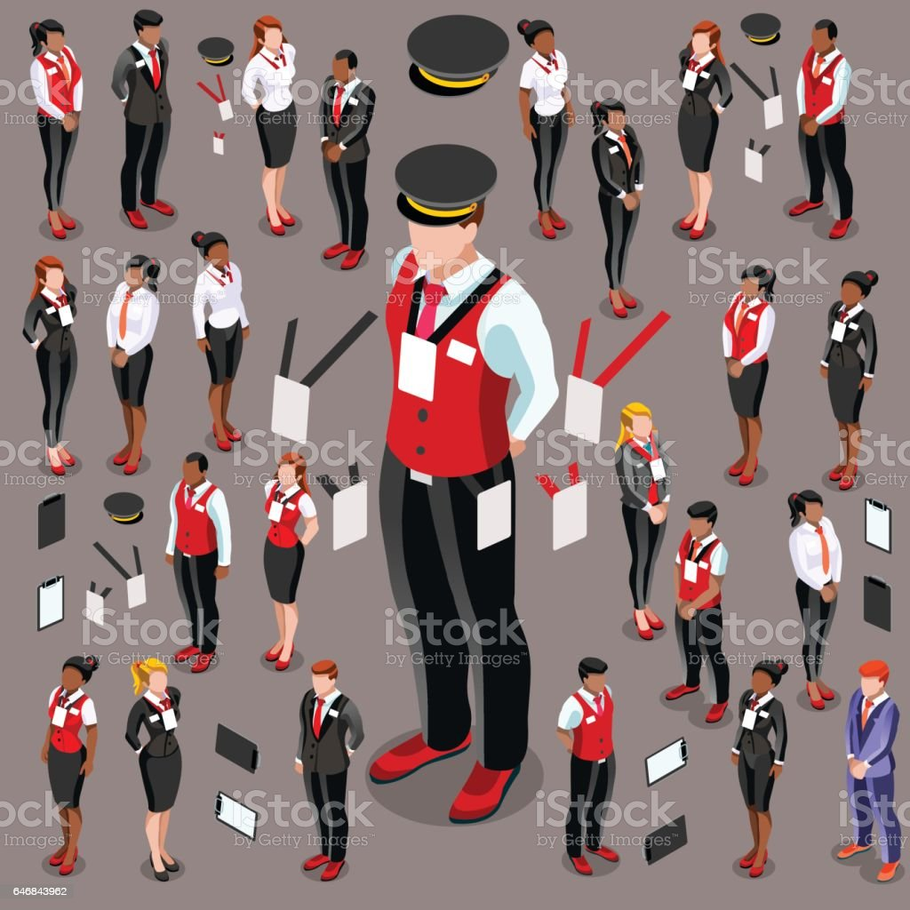 Isometric Person 3D Icon Set Collection Vector Illustration vector art illustration