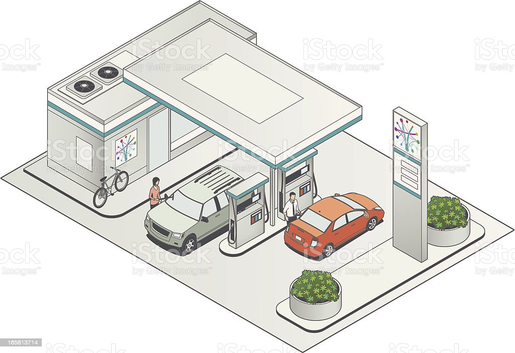 Isometric Petrol Station royalty-free stock vector art