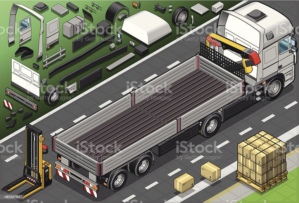 Isometric Pick Up Truck in Rear View royalty-free stock vector art