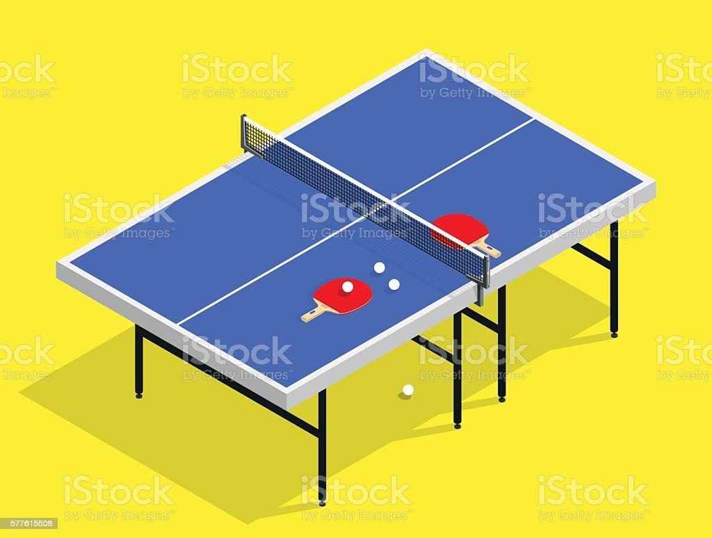 isometric Ping pong still life illustration table tennis racket vector art illustration