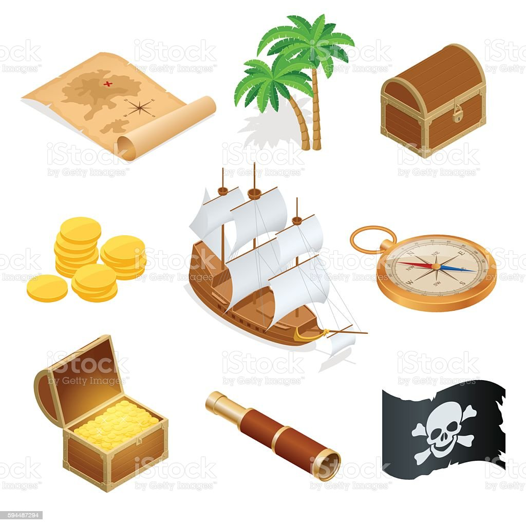 Isometric Pirate accessories flat icons. Collection with wooden treasure chest vector art illustration