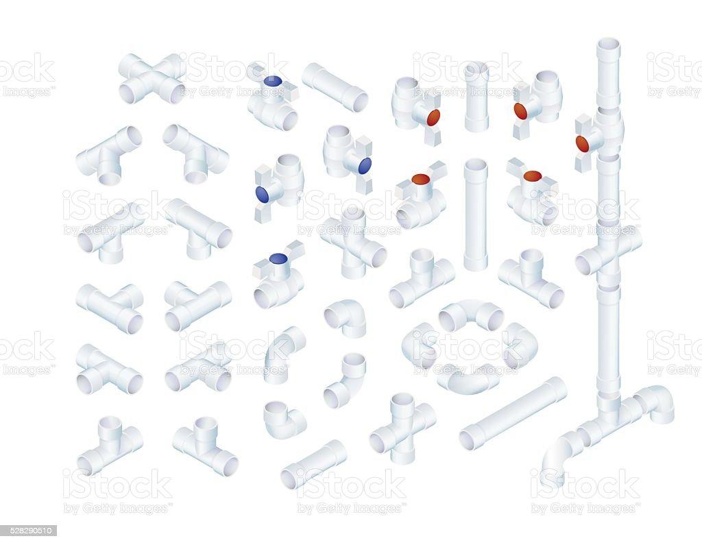 Isometric Plumbing Elements vector art illustration
