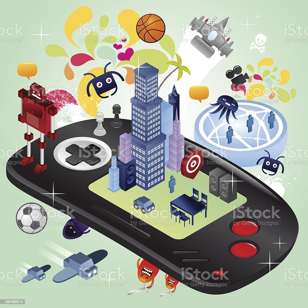 isometric portable console town and chaos vector art illustration