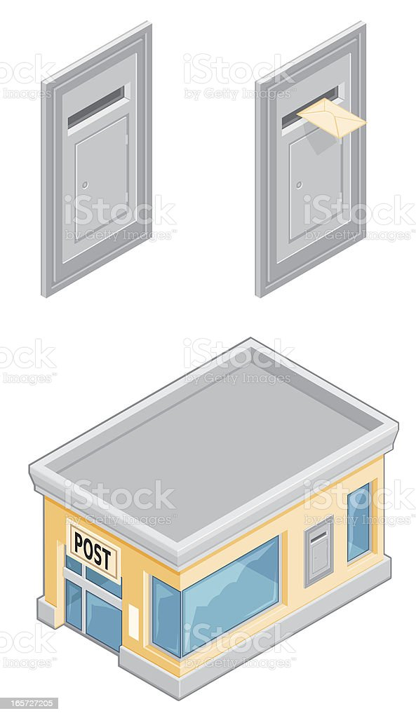Isometric Post Office and Letterbox vector art illustration