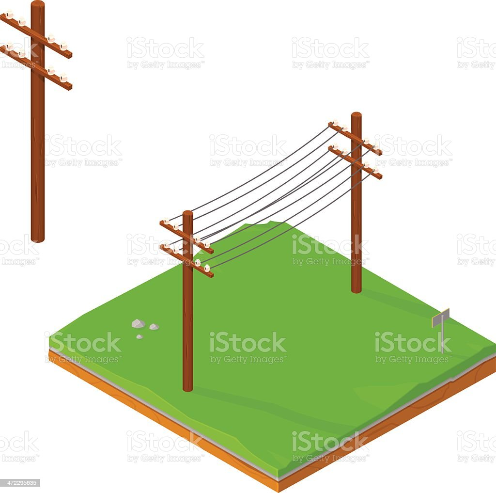 Isometric Power lines vector art illustration