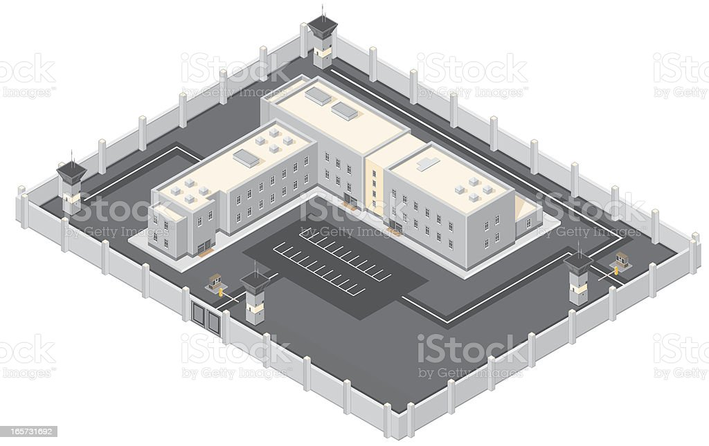 Isometric Prison Building. vector art illustration