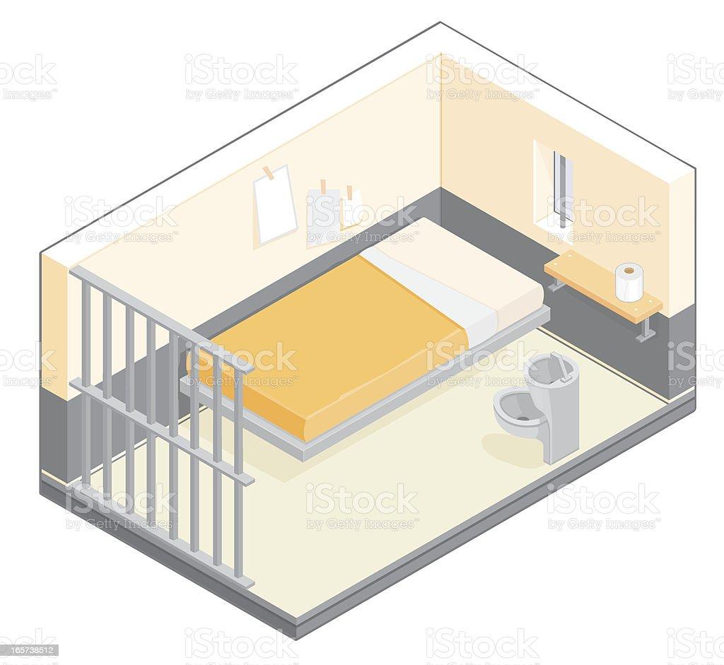 Isometric Prison Cell vector art illustration