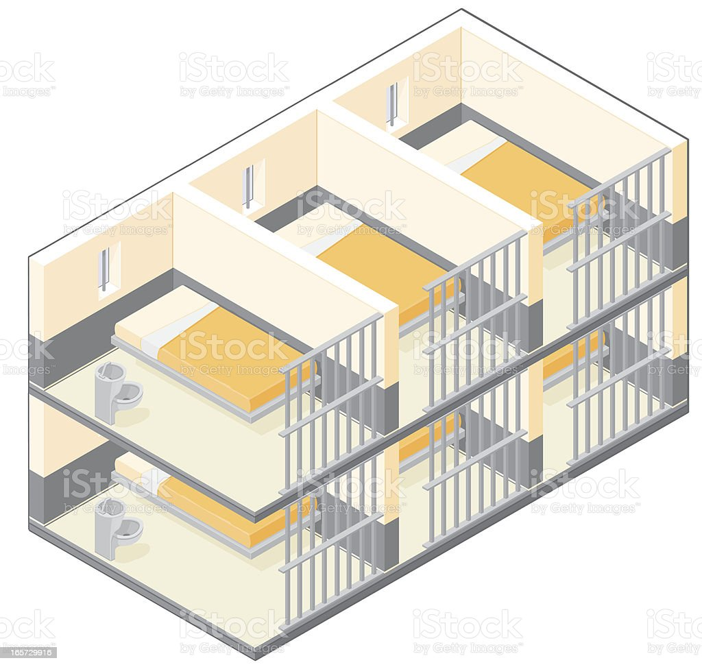 Isometric Prison Cells vector art illustration