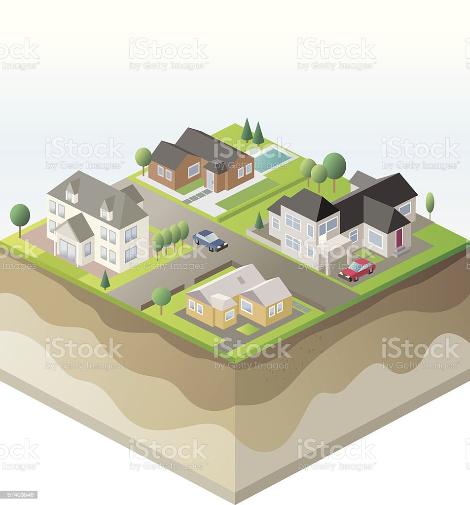 Isometric Projection of Suburban Homes and Ground Layers vector art illustration