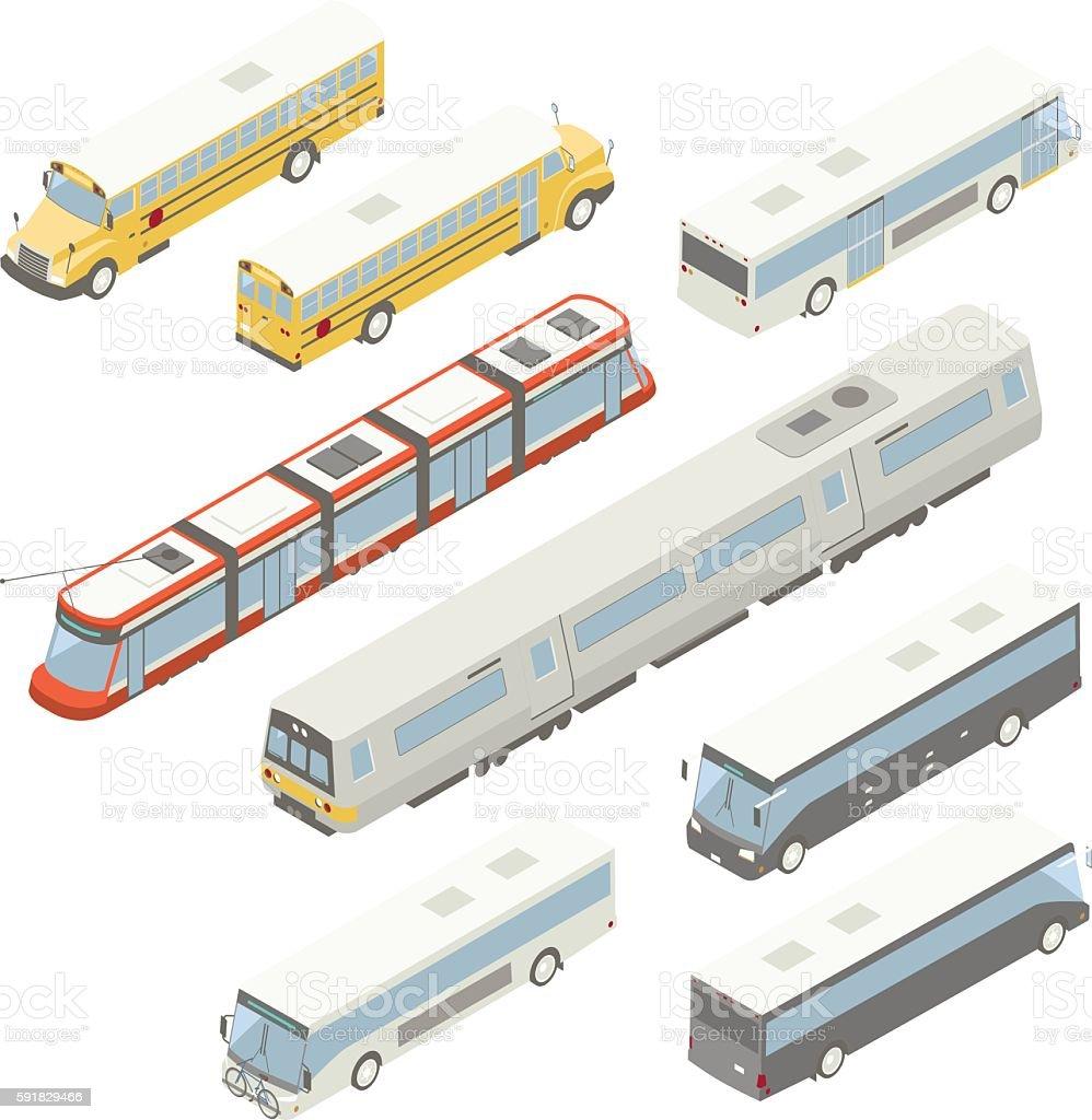 Isometric public transit illustration vector art illustration