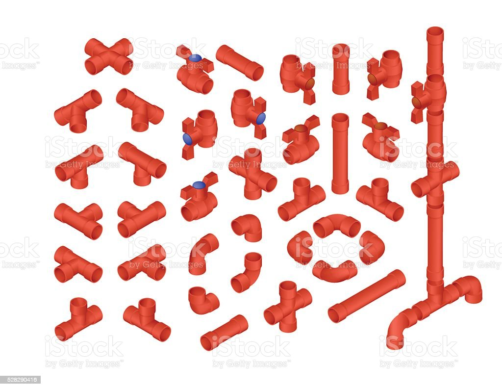 Isometric PVC Plumbing vector art illustration