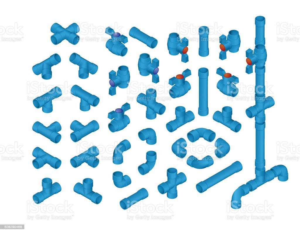 Isometric PVC Plumbing vector art illustration
