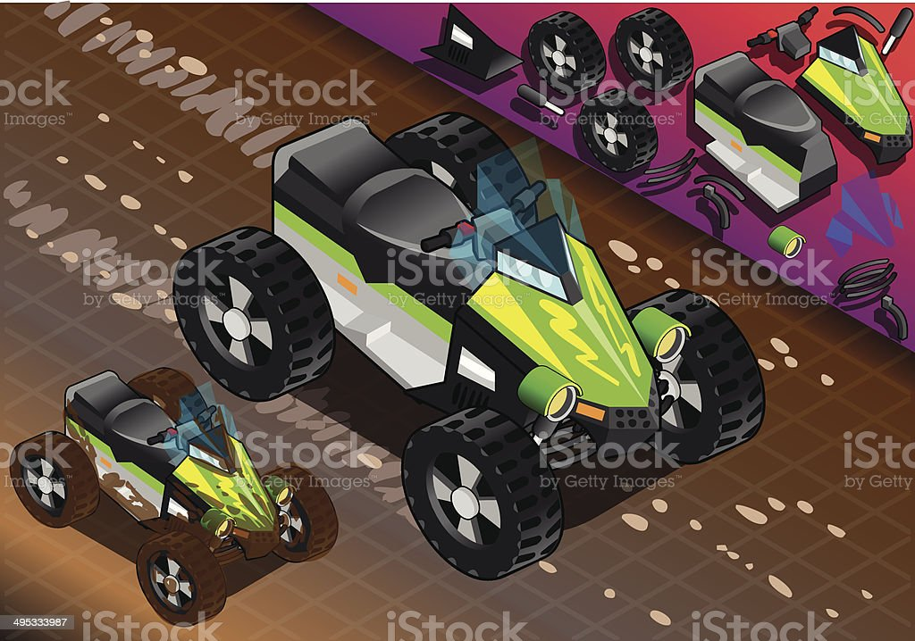 Isometric Quad Bike in Front View royalty-free stock vector art