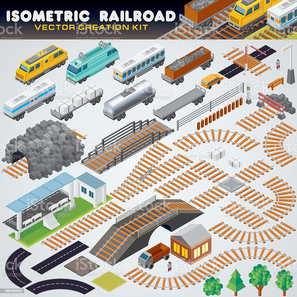 Isometric Railroad Train. Detailed 3D Illustration vector art illustration