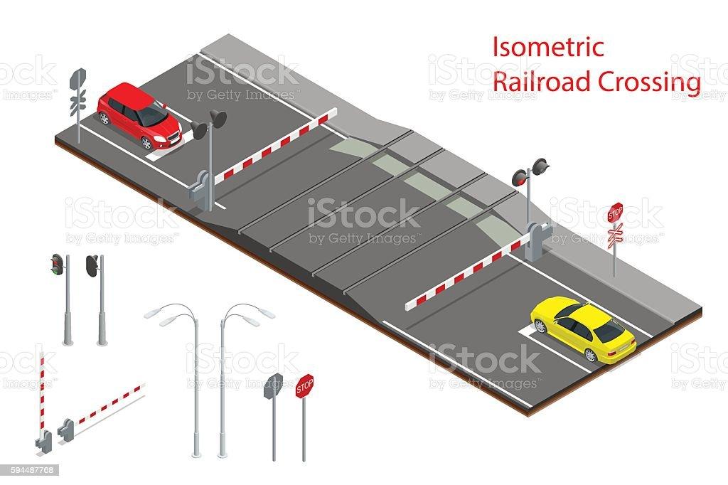 Isometric Railway crossing vector art illustration