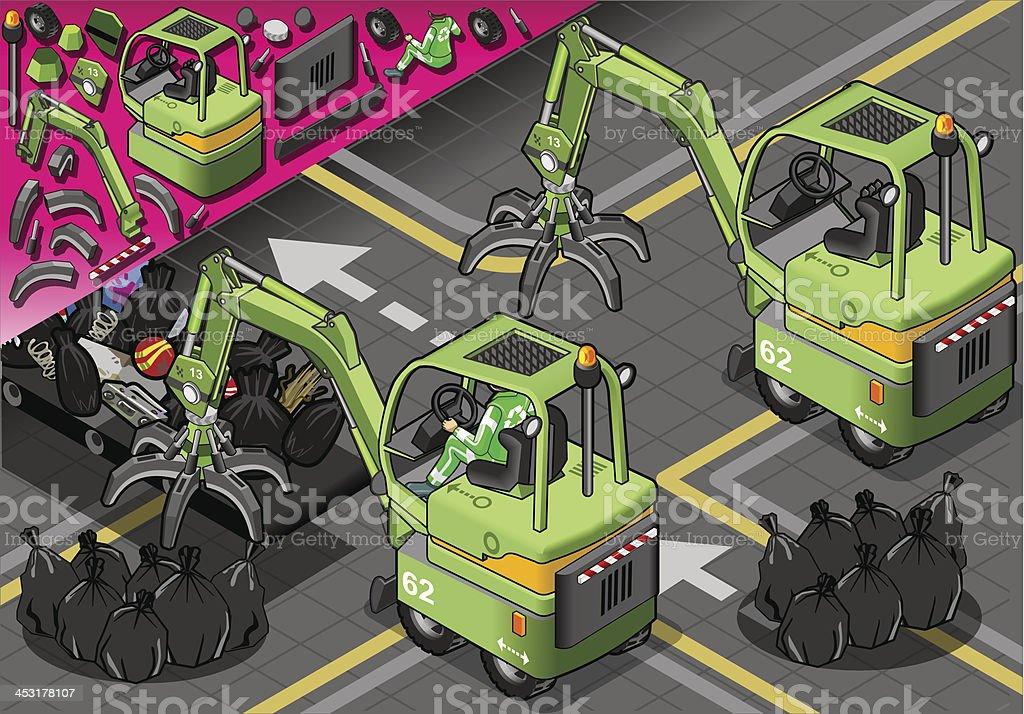 Isometric Rear View Mini Mechanical Arm Machine royalty-free stock vector art