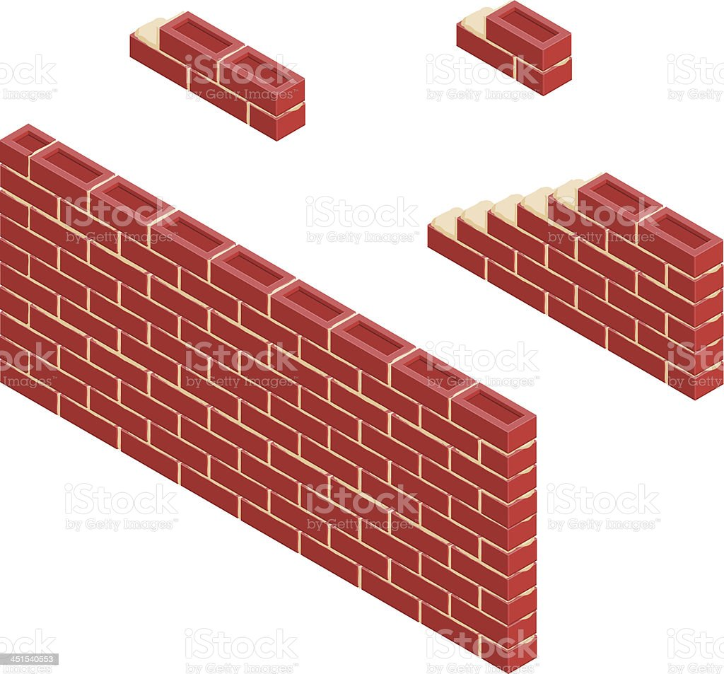 Isometric Red Brick Wall vector art illustration