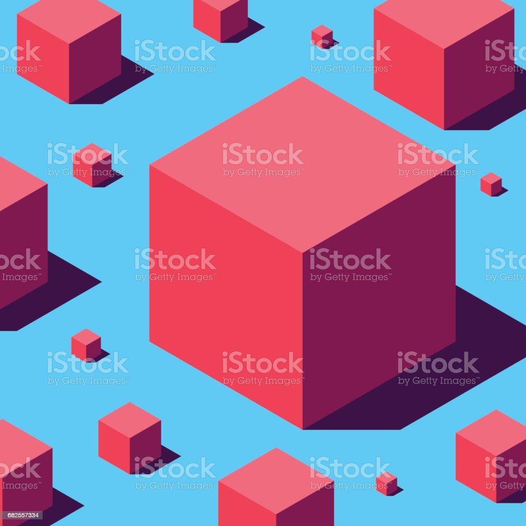 Isometric red cubes. vector art illustration