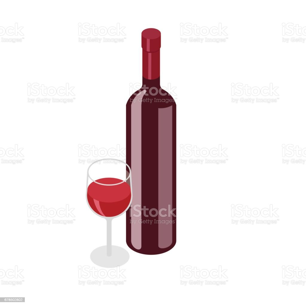Isometric red, wine bottle with glass on white background vector art illustration