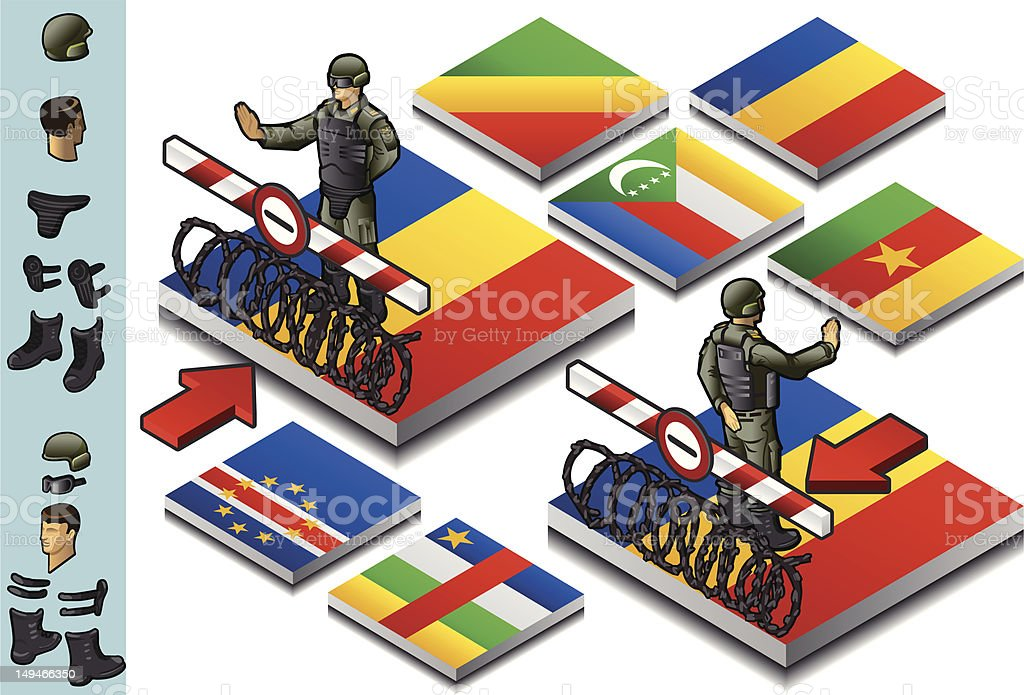 Isometric representation of Frontier militarily closed royalty-free stock vector art