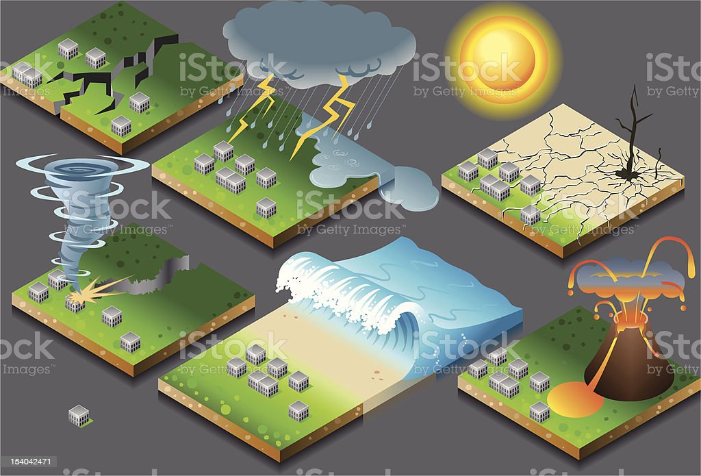 isometric representation of natural disaster on button flag vector art illustration
