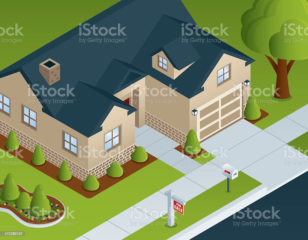Isometric Residential House vector art illustration