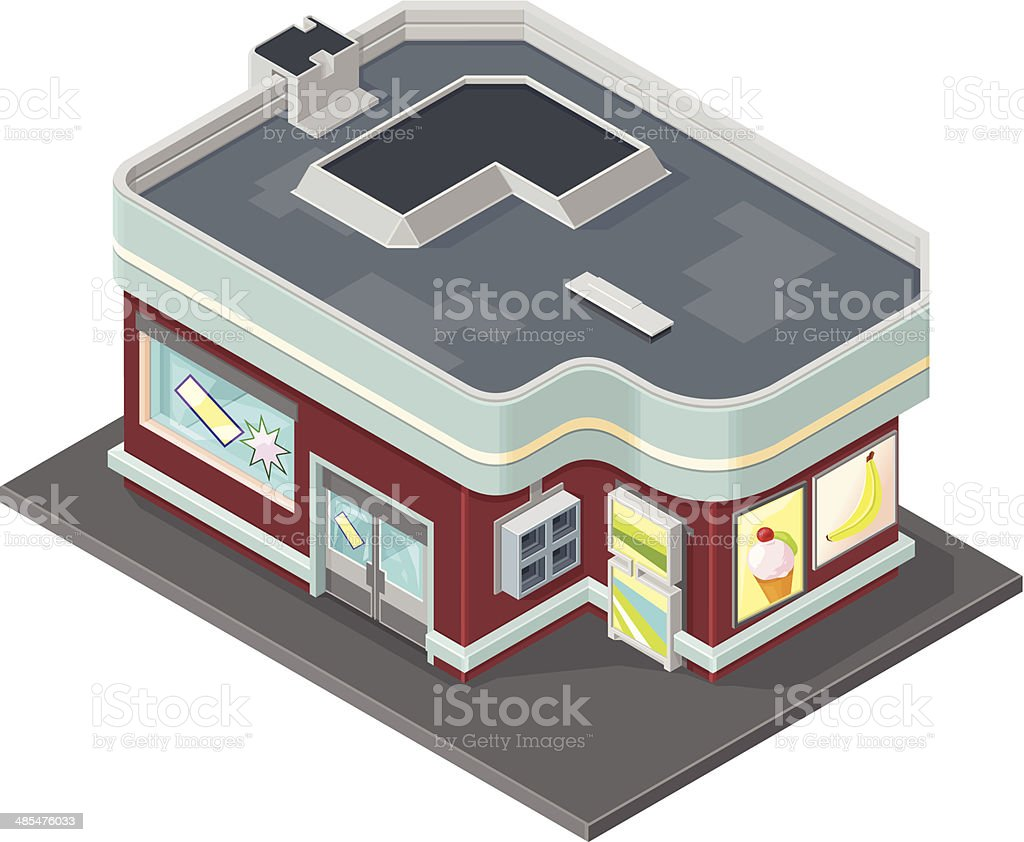Isometric Retail Store vector art illustration