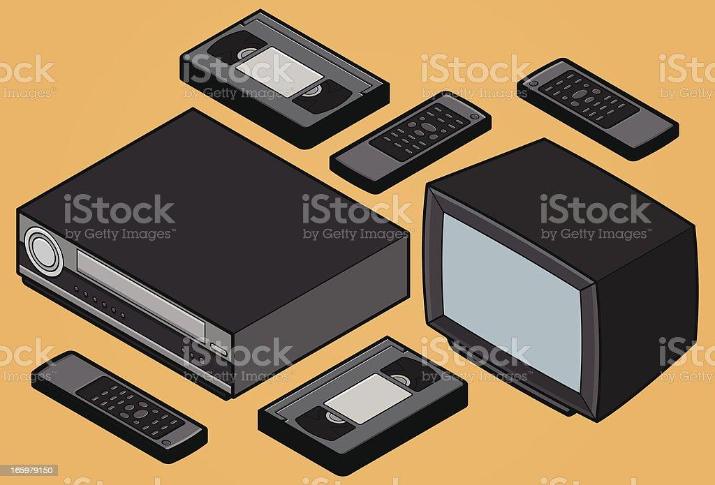 Isometric retro Video Home System - TV, VCR, VHS vector art illustration