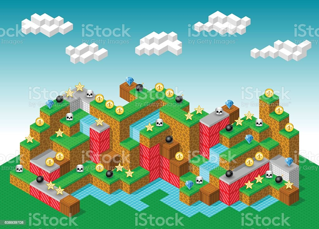 Isometric Retro-Looking 3D Platformer Computer Game vector art illustration