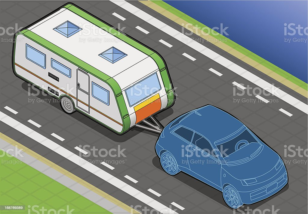 Isometric Roulotte  on the Way in Front View royalty-free stock vector art