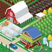 Isometric Rural Farm Agricultural Field with Greenhouse and Garden