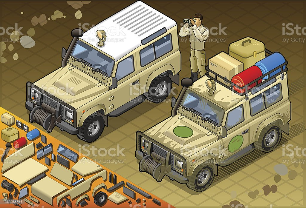 Isometric Safari Jeep with Guide in Front View vector art illustration