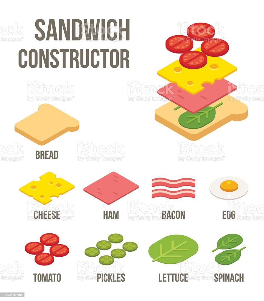 Isometric sandwich ingredients vector art illustration