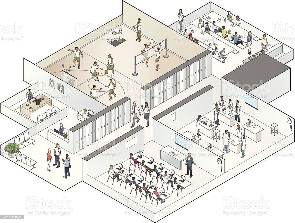Isometric School Cutaway Illustration vector art illustration