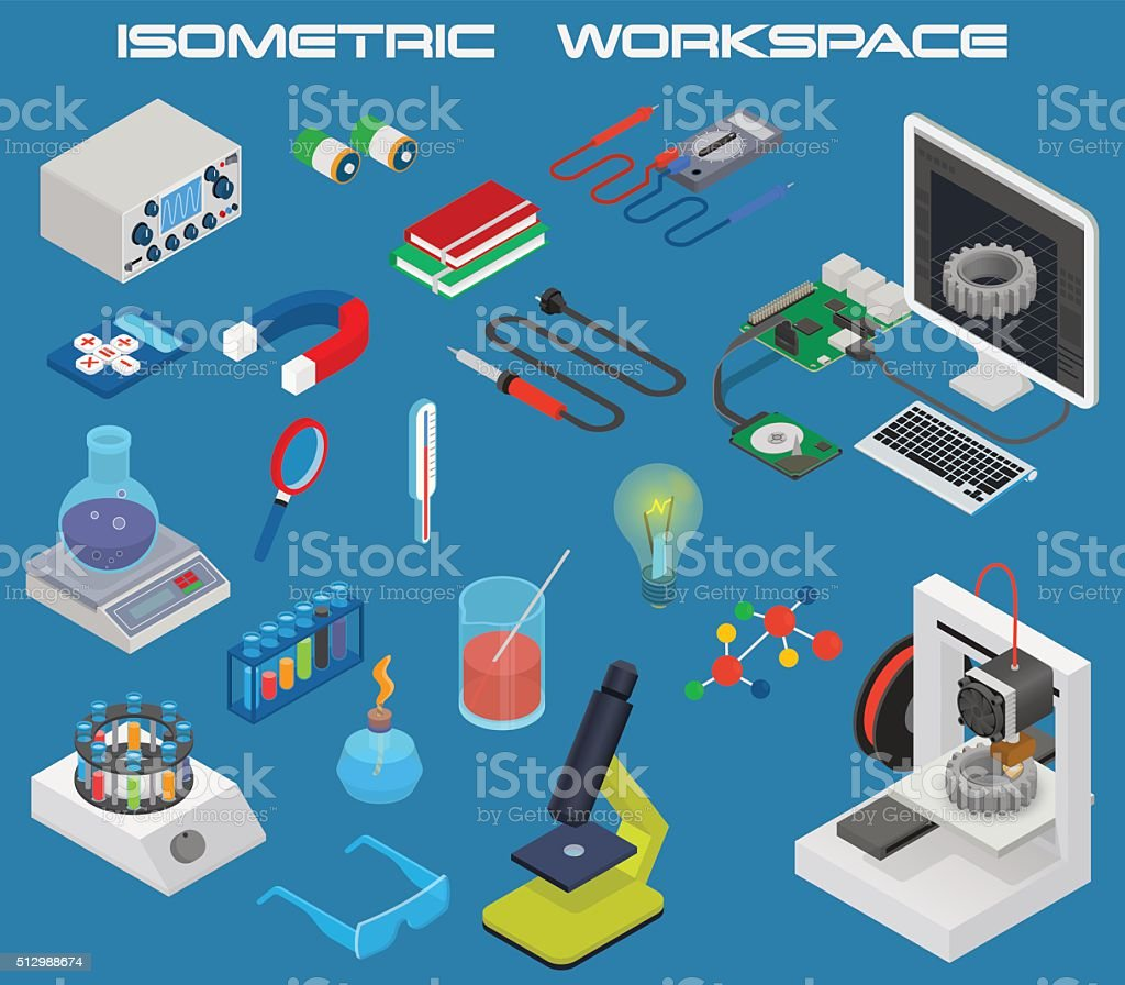 Isometric science concept with 3D design, electronics and chemistry equipment vector art illustration