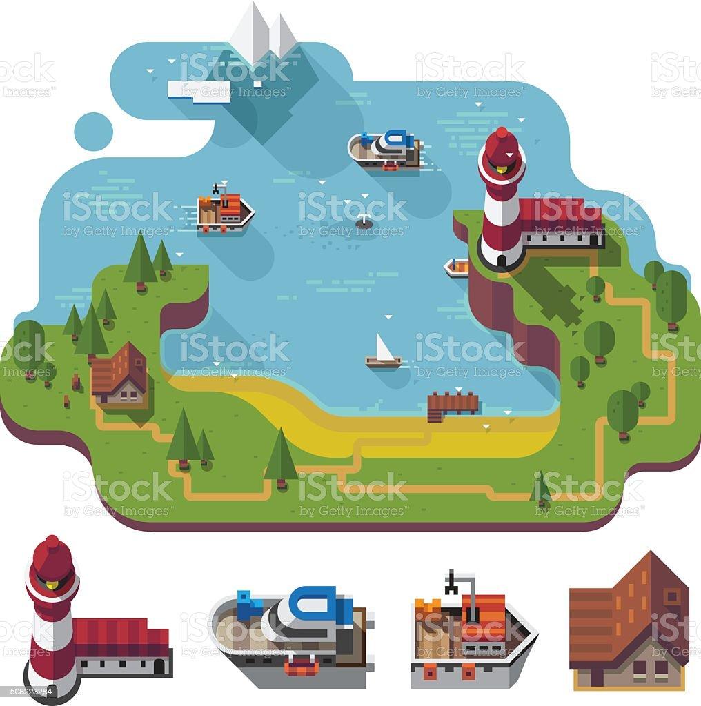 Isometric sea landscape. vector art illustration