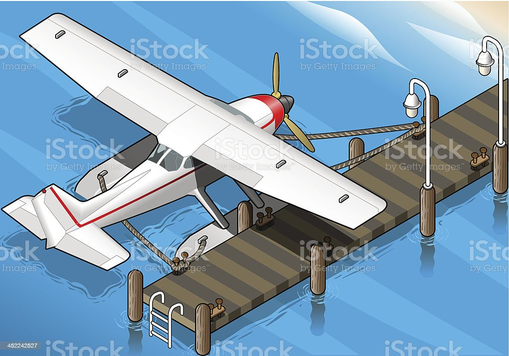 Isometric Seaplane Moored at the Pier in Rear View royalty-free stock vector art