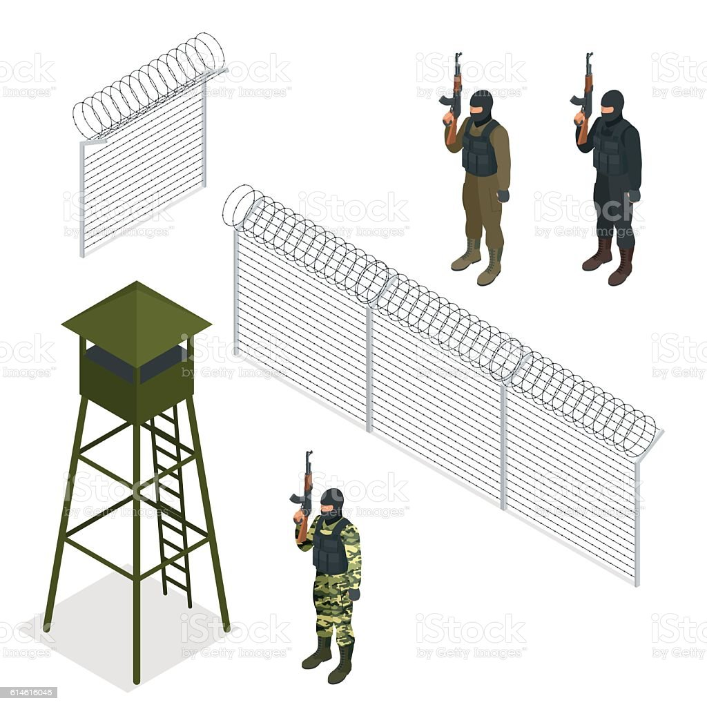 Isometric Security with a barbed wire fence. Soldier, officer. vector art illustration